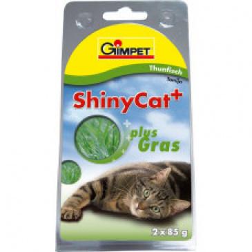 Shiny CAT tuňák 2 x 70 g s kočičí trávou
