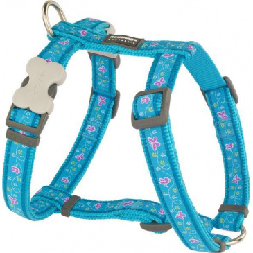 Postroj Red Dingo 12 mm x 30-44 cm - Butterfly Turquoise