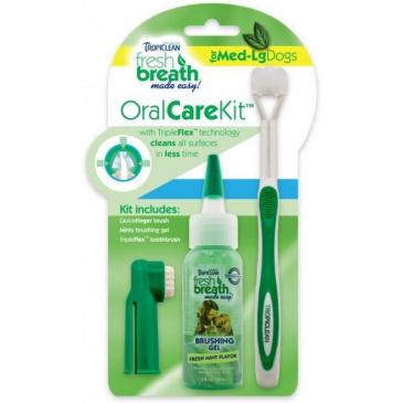 Tropiclean Oral Kit M/ L - gel s kartáčky - pro psy - 59 ml
