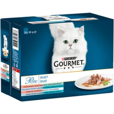 Gourmet Perle  Multipack  DUO ve šťávě losos/treska/mořské ryby 12x85g