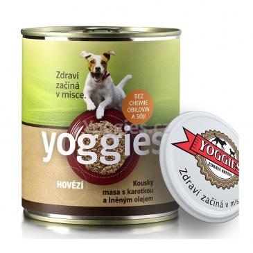 Yoggies konzerva pro psy s hovězím masem a karotkou 800g