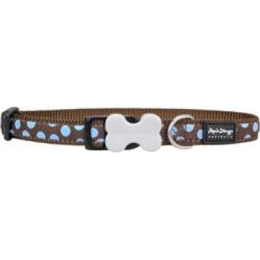 Obojek Red Dingo 20 mm x 30-47 cm - Blue Spots on Brown
