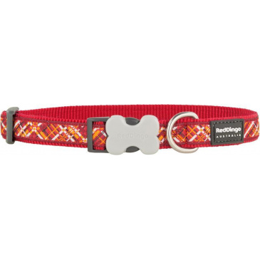 Obojek Red Dingo 25 mm x 41-63 cm - Flanno Red