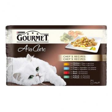 Gourmet A la Carte Multipack 4x85g - kuře/hovězí/pstruh/treska