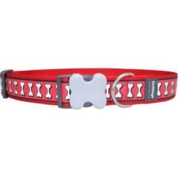 Obojek Red Dingo 40 mm x 50-80 cm - Reflexní - Červená