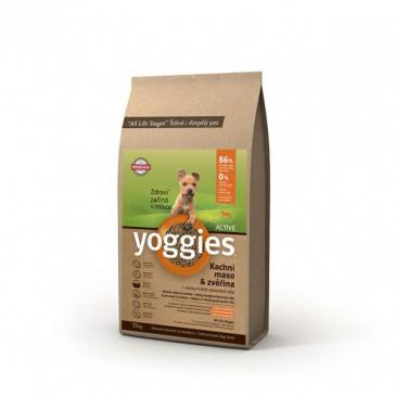 Yoggies Active Kachna a zvěřina 15kg Minigranule