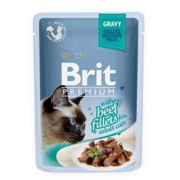 Brit premium 85g cat kaps.filety s hovězím ve šťávě