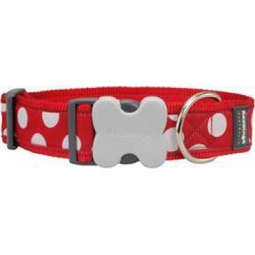 Obojek Red Dingo 40 mm x 37-55 cm - White Spots on Red