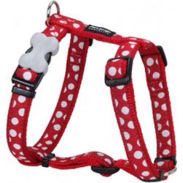 Postroj Red Dingo 15 mm x 36-54 cm - White Spots on Red