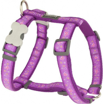 Postroj Red Dingo 12 mm x 30-44 cm - Butterfly Purple