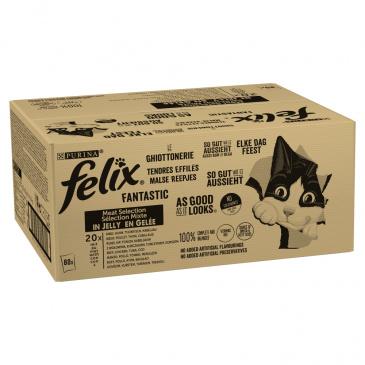 Felix Fantastic Adult hovězí/kuře/tuňák/treska v želé 80 x 85 g