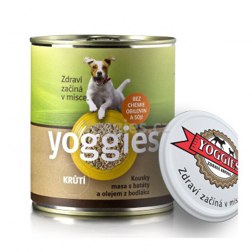 Yoggies konzerva pro psy s krůtím masem a batáty 800g