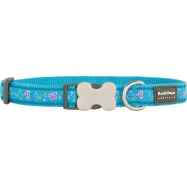 Obojek Red Dingo 20 mm x 30-47 cm - Butterfly Turquoise