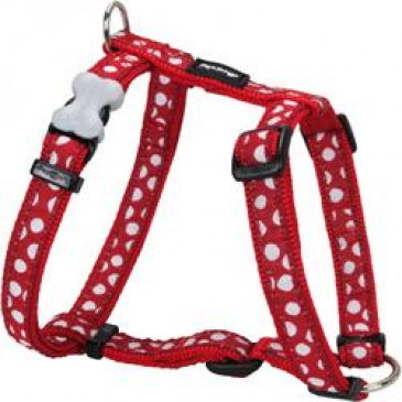 Postroj Red Dingo 12 mm x 30-44 cm - White Spots on Red