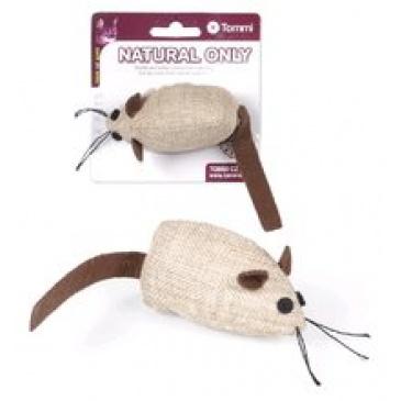 Hračka Natural Only Cat myš hnědá s hnědým ocáskem