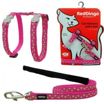 Postroj Red Dingo s vodítkem - kočka- Stars Lime/ Hot Pink