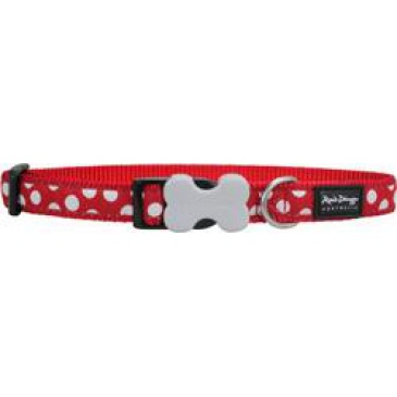 Obojek Red Dingo 20 mm x 30-47 cm - White Spots on Red